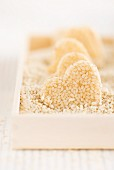 Homemade heart-shaped sesame seed sweets