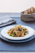 Fusilli with walnut pesto and asparagus