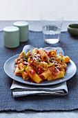 Rigatoni with tomato sauce, mushrooms, parsley and Parmesan