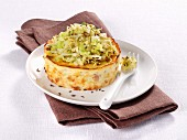 Ricotta flan with caraway and cabbage