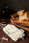 Gorgonzola, Prosciutto rolls and baguette