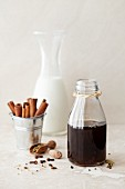 Spiced masala chai syrup with milk and spices