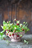 Wild strawberries with flowers in a ceramic bowl
