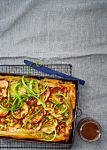 A caramelised celery and apple tart with nuts