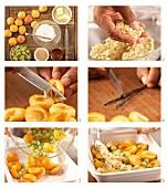 Überbackene Aprikosen und Stachelbeeren mit Zimstreuseln zubereiten