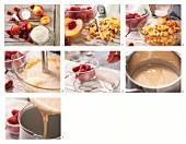 Joghurt-Nektarineneis mit frischen Himbeeren zubereiten