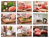 Gegrillte Wassermelone mit Melissenpesto zubereiten