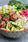 Vietnamese pork meatballs with vegetable salad