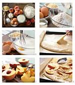 Pfirsichkuchen vom Blech mit Buttermilch und Mandeln zubereiten