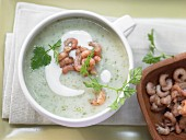 Parsnip soup with shrimps and chervil