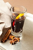 Mulled wine with cinnamon, orange and star anise