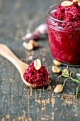 Beetroot and peanut pesto