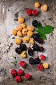 Heap of colorful yellow and red raspberries and black dewberry with leaf over old wet iron textured background.