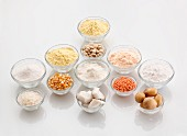 Assorted types of gluten-free flour in bowls