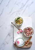 Flavoured salts: rosemary and orange salt, bacon salt and rose salt