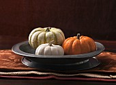An arrangement of three decorative pumpkins in a grey metal dish