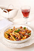 Ziti with meat sauce and Parmesan