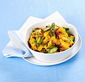 Tagliatelle with asparagus and saffron