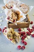 Gluten-free raspberry muffins with white chocolate chips