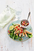 Grilled chicken fillets with avocado and strawberry salsa