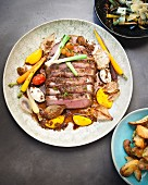 Roast beef with carrots, horseradish and mini pumpkins