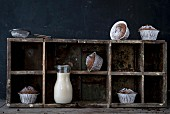 Milky coffee muffins dusted with icing sugar on wooden shelves