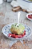 Matcha buns with rhubarb compote