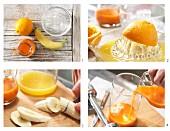 Bananen-Möhren-Saft zubereiten