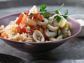 Risotto with fried calamari and pepper