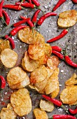 Spicy potato crisps with sea salt and red hot chilli peppers