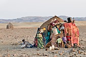Himba children at hut,Namibia