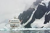 A cruise ship near Petermann Antarctica