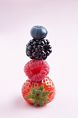 Fresh berries in a stack,studio shot