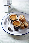 Two glasses of espresso with cantuccini