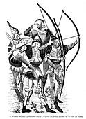 15th Century French archers,illustration
