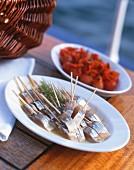 Marinated mackerel kebabs