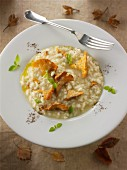 Risotto with chanterelle mushrooms sautéed in butter and herbs
