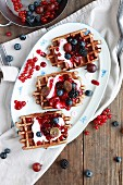 Emmer wheat waffles with chocolate and red berry jelly
