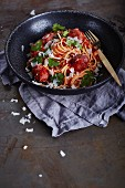 Spaghetti with tomato sauce and minced salsiccia balls