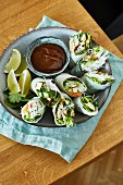 Summer rolls with a peanut dip