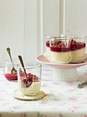 White chocolate panna cotta with redcurrant sauce