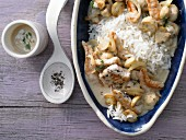 Turkey sliced ​​with mushrooms and rice