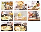 How to prepare the farfalle pasta with pointed white cabbage in creamy Parmesan sauce