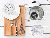Kitchen utensils for preparing a soy drink with cress and cucumber