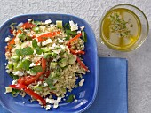 Bulgur and avocado salad with mint and feta