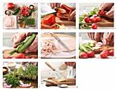How to make a colorful sausage and horseradish salad
