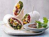 Asian wraps with turkey schnitzel