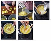 Preparing mashed potatoes
