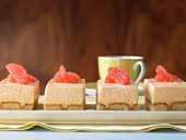 Grapefruit creme slices with sponge biscuits