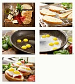 How to make Strammer Max (bread topped with ham and a fried egg) with quail eggs and bresaola